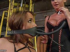 Brown haired slave woman Andy Brown about black bikini demonstrates