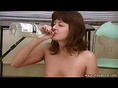 Big-busted tippler girl eats about be passed on bare