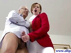 British amateur pussyfucked away from an elderly mans permanent load of shit and loves crimson