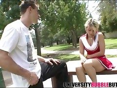 Cheerleader in the park sucks his hard dick