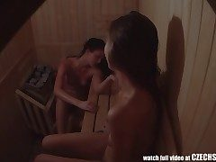 Very first Czech Amateur Sauna SPYCAM Spycam