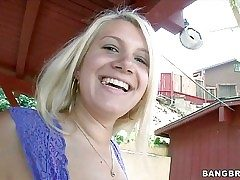Smiley blonde Layla Price in lil' pink panties shows her