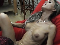 Thin MILF lapdances, gives Deep throat and pummels in few positions