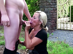 German Step Mummy catch Stepson wank in Garden and Help with Fuck