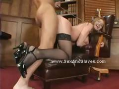 Redhead with illustrious boobs gelatinous in brutal deepthroat and obtaining her round big butt spanked